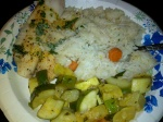 Bobby's Baked Tilapia with Veggies and Jasmine Rice